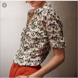 Anthropologie | Maeve Bicycle Print Blouse